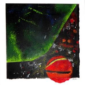 Cosmos Matière : papier, encre, acrylique, sable Dim. : 70 x 80 cm Année : 2013
