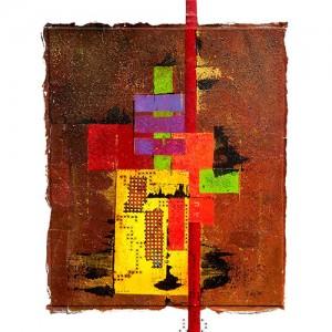 Géométrie 2 Matière : papier, encre, acrylique, pièces métal Dim. : 60 x 80 cm Année : 2013