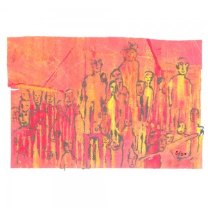 La foule Dim. : 50 x 70 cm
