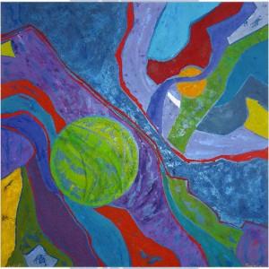 Le yin et le yang Dim. : 100 x 100 cm Mat. : acrylique, sable, pastels secs