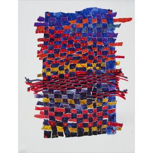 """""""obi"""" Dim. : 50 x 60 cm Mat. : tissage, papier, cordes, acrylique"""