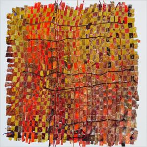 Métissages Dim. : 100 x 100 cm Mat. : papiers, acrylique, corde