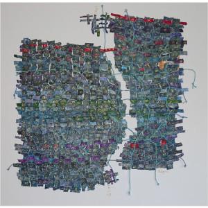 Métissages verts Dim. : 100 x 100 cm Mat. : papiers, acrylique, cordes