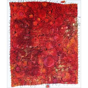 Planètes telluriques rouges Dim. : 50 x 70 cm Mat. : sable, pigments, encre de Chine