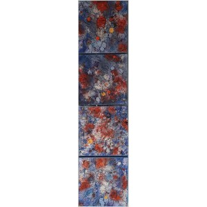 2ème quatuor Dim. : 30 x 120 cm Mat. : sable, acrylique