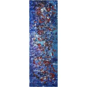 Pluie d'étoiles sous l'orage Dim. : 40 x 120 cm Mat. : sable, acrylique, encre