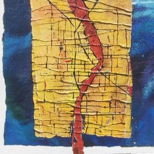 Final straigth Matière : collages Dim. : 1 x1 m C'est ainsi : une vie n'est jamais un long fleuve tranquille, ni une route plane. Des irrégularités de parcours, des embûches parsèment tout parcours. Origine sans racine. Devenir aléatoire.