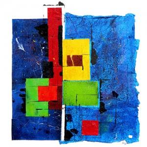 Géométrie 3 Matière : papier, acrylique, papier de soie Dim. : 80 x 80 cm Année : 2013