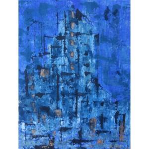 Village bleu Dim. : 50 x 70 cm