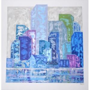 Mégalopole reflet Dim. : 100 x 100 cm