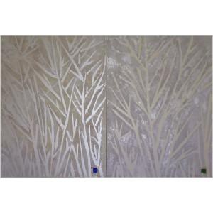 Motus blanc diptyque Dim. : 120 x 80 cm Mat. : acrylique nacrée, sable, savonné