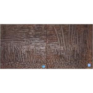 Motus cuir Dim. : 100 x 50 cm Mat. : acrylique, sable, pastels secs