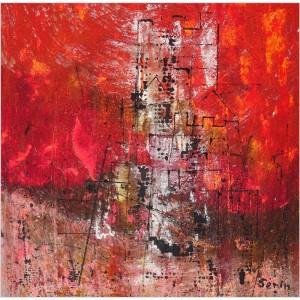 Citadelle Dim. : 50 x 50 cm Mat. : sable, acrylique, pastels secs