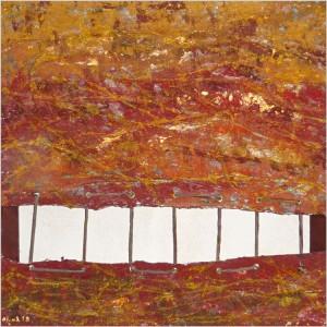 Terres safranées Dim. : 50 x 50 cm Mat. : papiers, pigments, sable