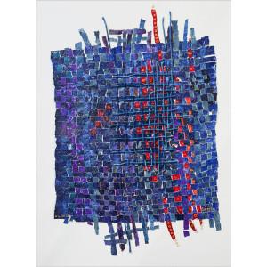 Kimono  Dim. : 65 x 85 cm Mat. : papiers, acrylique, corde