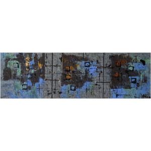 Terres craquelées Dim. : 30 x 90 cm Mat. : sable, pigments, cuir