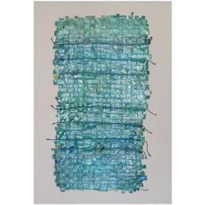 Blues métissages Dim. : 80 x 100 cm Mat. : papiers, cordes