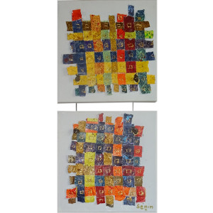 Mini-métissages Dim. : 20 x 20 cm Mat. : papiers