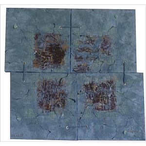 Quatuor Dim. : 60 x 60 cm Mat. : sable, pigments, oeillets, cordes