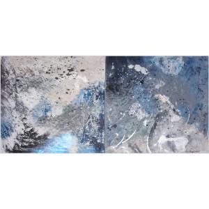D'ombres et de lumière Dim. : 50 x 100 cm Mat. : sable, acrylique, encre de Chine